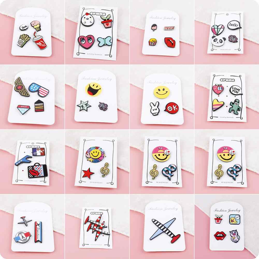 1~4pcs/set Fashion Cartoon Acrylic Animal Expression Brooch Button Pins Badge Jewelry Gift Shoes Package Icon For Kids