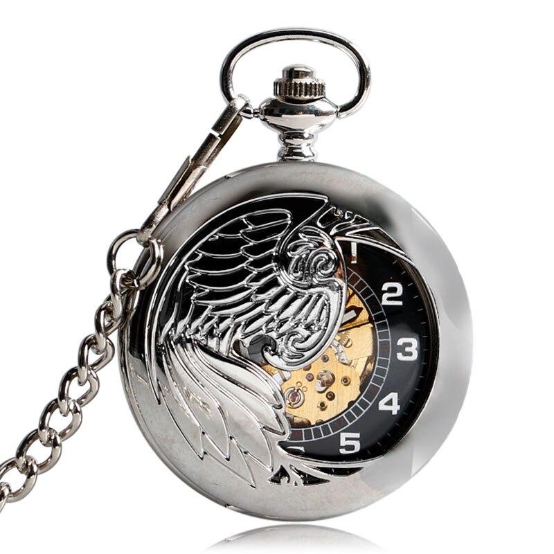 Hollow Automatic Mechanical Skeleton Self Winding Fob Fashion Classic Silver Cool Elegant Phoenix Pocket Watch