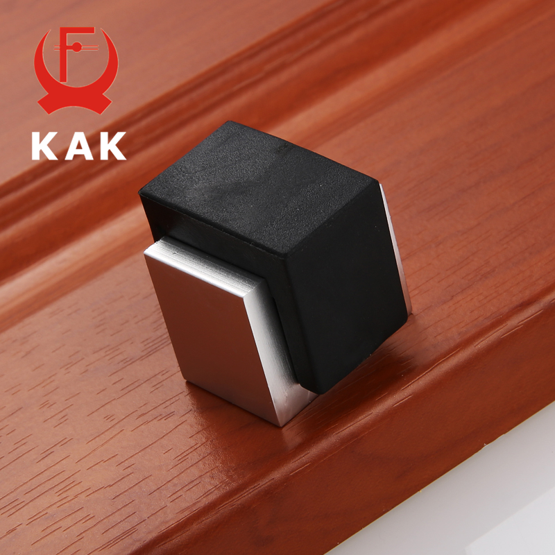 KAK Aluminum Alloy Rubber Door Stopper Hidden Glass Door Holders Catch Floor Mounted Square Mute Doorstop Fashion Door Hardware zinc alloy casting wall floor mounted safety catch magnetic door stopper door stops hidden doorstop hardware