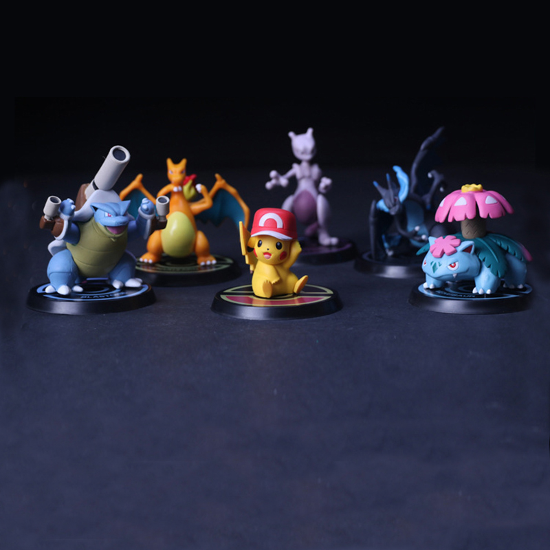 6pcs/set Pikachu Action Figure Venusaur Charizard Mewtwo Blastoise Toys for Boy 5-8cm