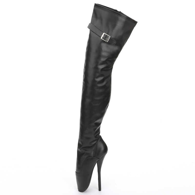 a8e50ba9579 jialuowei 7inch Super High heel Boots Women Patent Leather Pointed Toe Side  Zip Thigh Hi Ballet Boots, Sexy Fetish Unisex