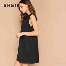SHEIN Lady Solid V-Neck Scallop Trim Trapeze Mini Elegant Dress Women Clothes 2019 Casual Sleeveless Black Summer Dress