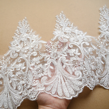 nature white embroidery lace accessories wedding veil diy handmade materials clothing accessories fabric soft net lace fabric 110cm wide wedding dress lace embroidery diy women clothes materials clothing fabric accessories ivory white church happy hour
