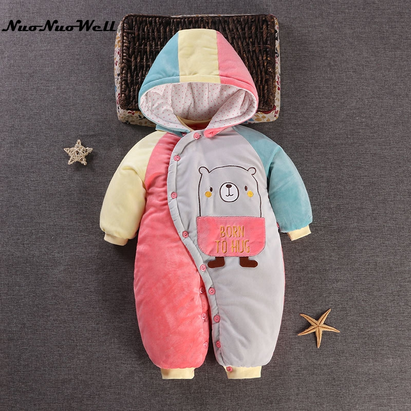 NNW Winter Baby Rompers Boys Girls Thick Coat Parka Suit Children Clothing Romper Newborn Kids Winter Clothes Thick Jumpsuit Set
