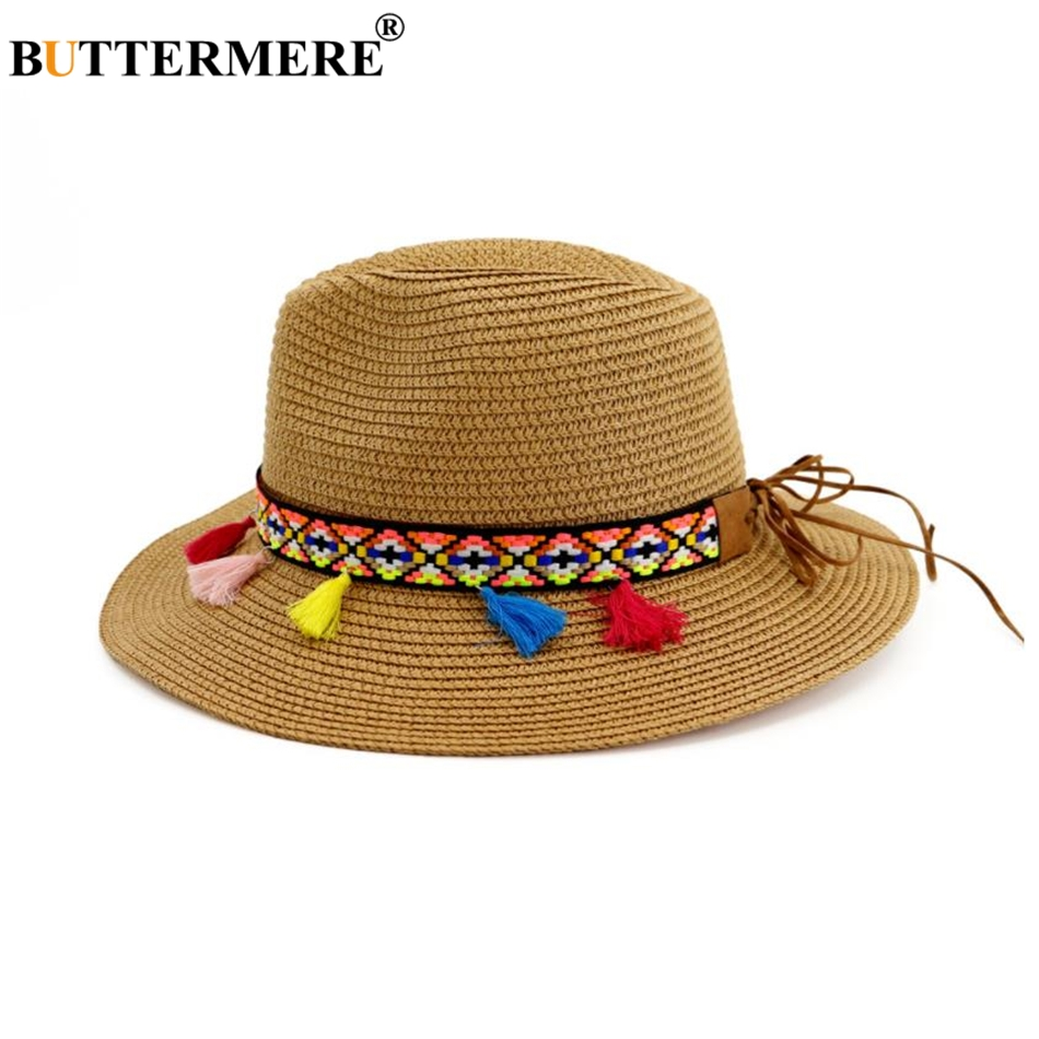 BUTTERMERE Hats For Beach Women Sun Hat Ethnic Straw Khaki Jazz Cap Tassel Female 2019 New Summer Hat Women Beach Panama Hats