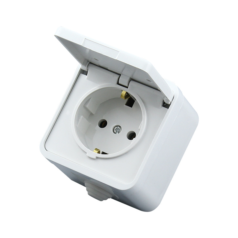 16A 250V EU German Waterproof socket European 2P+E anti-splash power outlet white Germany cable socket with cover ac 200v 250v 16a ip44 2p e 3 terminal female industrial caravan panel socket