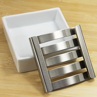 High Quality Cheap Stainless Steel Cute Soap Dishes Portable Handmade Creative Porcelain Metal Bathroom Soap Dish