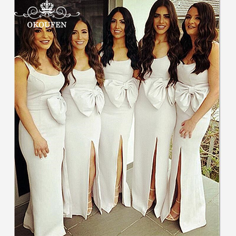 2019 White Mermaid   Bridesmaid     Dresses   With Big Bow Spaghetti Strap Side Split Cheap Long Party   Dress   Maid Of Honor For Women