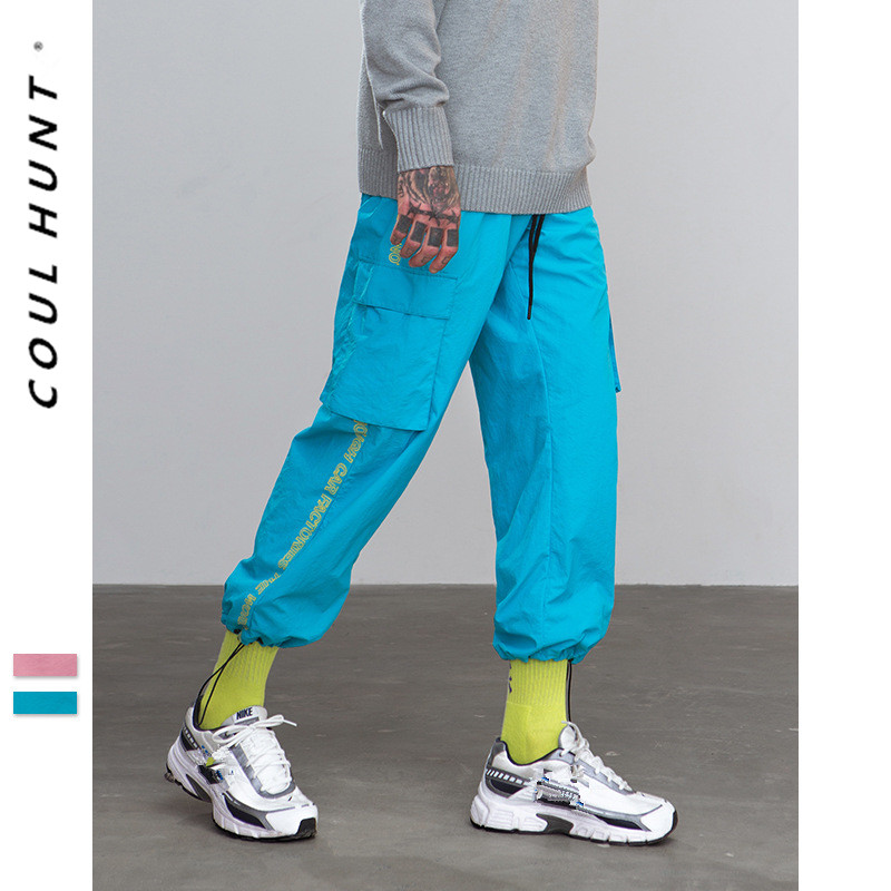 2019 SS Skateboard Hip Hop Cargo Windbreaker Sweatpants Mens Side Letter Printed Thin Full Length Pant Loose Harem Trousers