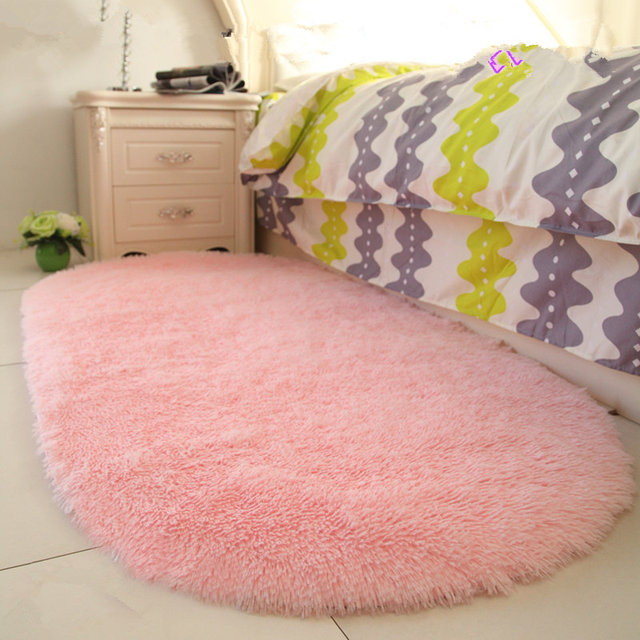 Online Shop Oval Floormat Carpet Long Hair Shaggy Mat Soft Area Rug ...
