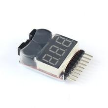 F00872 Lipo Battery Voltage Tester Volt Meter Indicator Checker Dual Speaker 1S-8S Low Voltage Buzzer Alarm 2in1 2S 3S 4S 8S +FS
