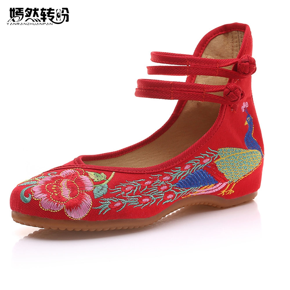 Vintage Embroidered Women Flats Old Beijing Mary Jane Ballet Flat Shoes Peacock Casual Cloth Shoes Woman Plus Size 43 peacock embroidery women shoes old peking mary jane flat heel denim flats soft sole women dance casual shoes height increase