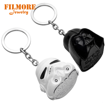 Hot Movie Star Wars Black knight Keychain Alloy Dimensional 3D Mask White Knight Metal Keychain for Women & Men Chaveiro Keyring