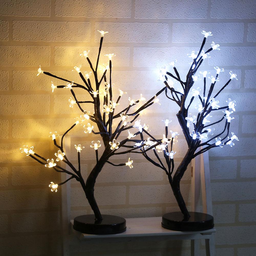 Творческий 48LED сливы в горшке дерево огни теплый/белый стол светодиодные фонари настольная лампа ночник дома украшение партии Прямая доста...