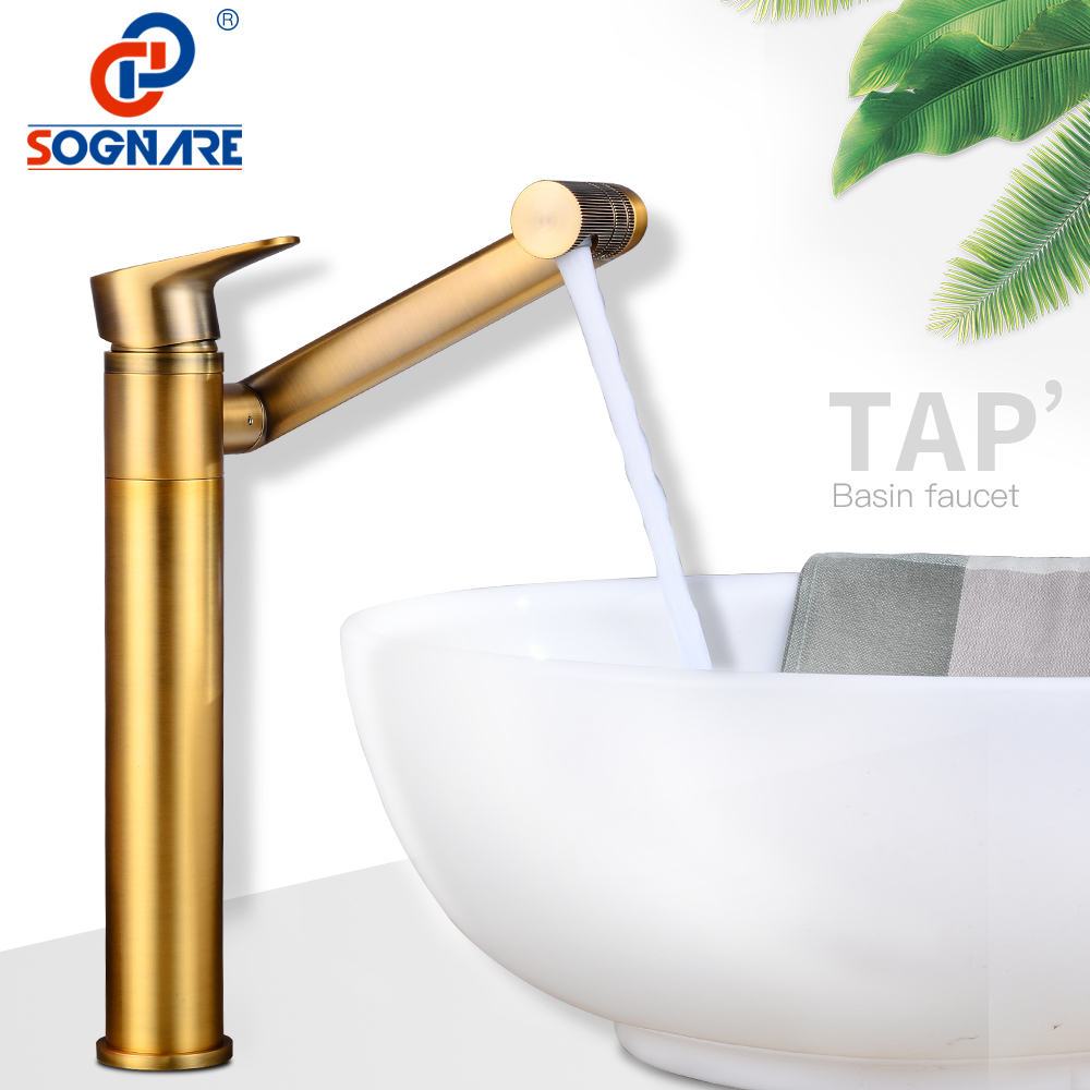 SOGNARE Waterfall Faucet Basin Bathroom Faucet 360 Degree Rotation Water Outlet Sink Tap Hot Cold Water Basin Mixer Tap Crane basin faucet water tap bath 360 degree swivel antique bathroom faucet single handle sink tap mixer hot and cold sink water crane