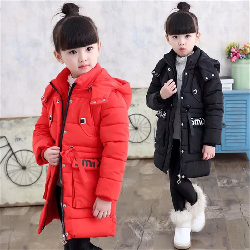 ФОТО Kids girls 2016 winter new long section of thick cotton jacket big virgin Korean children padded jacket