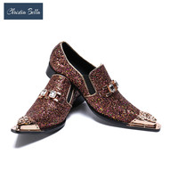 Christia Bella Luxury Men Party Wedding Handmade Loafers Glitter Men Dress Shoes Smoking Slippers Men's Flats Sequins Shoes