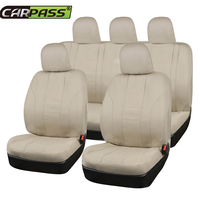 Car pass Full Beige Car Seat Cover Universal 11 Pcs Front Seat Cover Rear Seat Cover Fit Most Cars