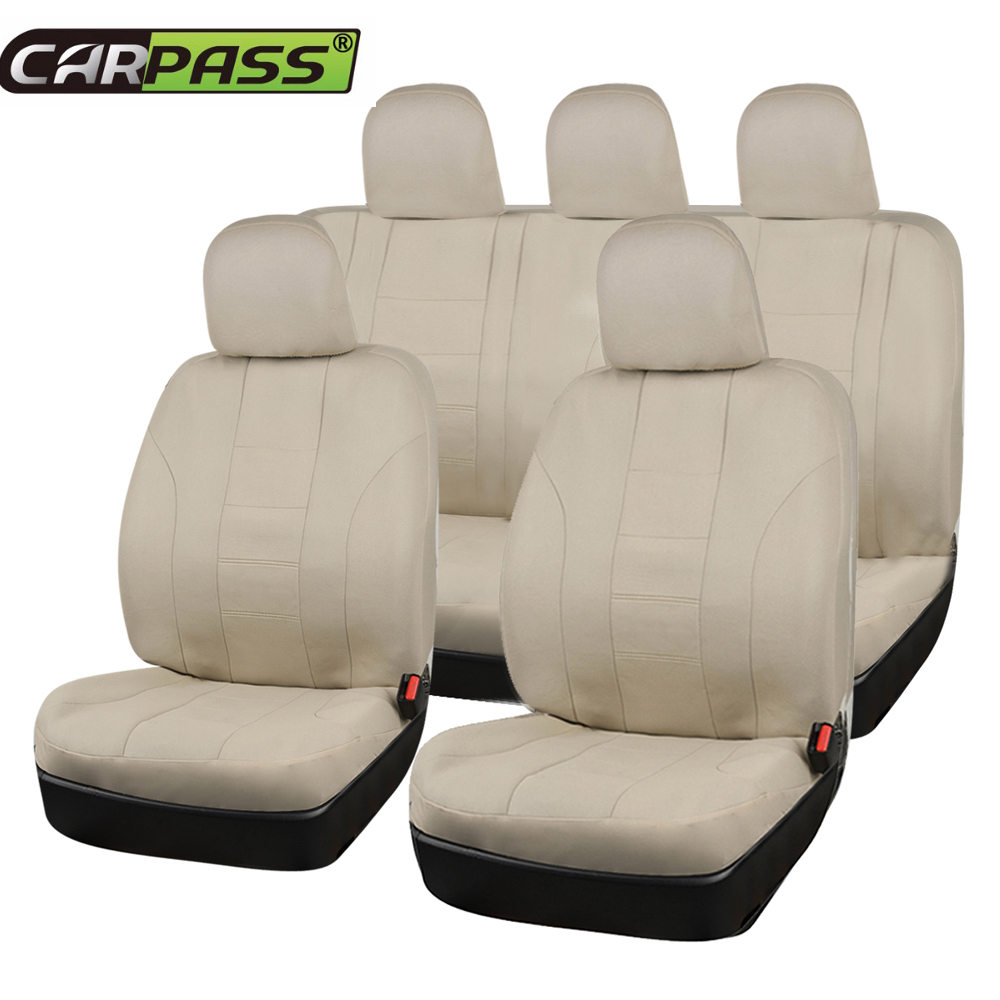 Car-pass Full Beige Car Seat Cover Universal 11 Pcs Front Seat Cover Rear Seat Cover Fit Most Cars