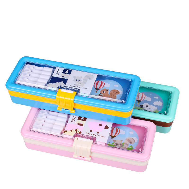 1pc Student Cute Creative Pencil Case Environmental Plastic Three Layer Pen Case The Great Gift Stationery for Boys and Girls animal cat pencil case big capacity pen bag boxes student school supplies multifunction stationery creative cute student gifts