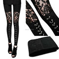 Women Black Gothic Casual See-through Tights Punk Rock Cotton Chain Cross Tie Lace Floral Leggings S-XL