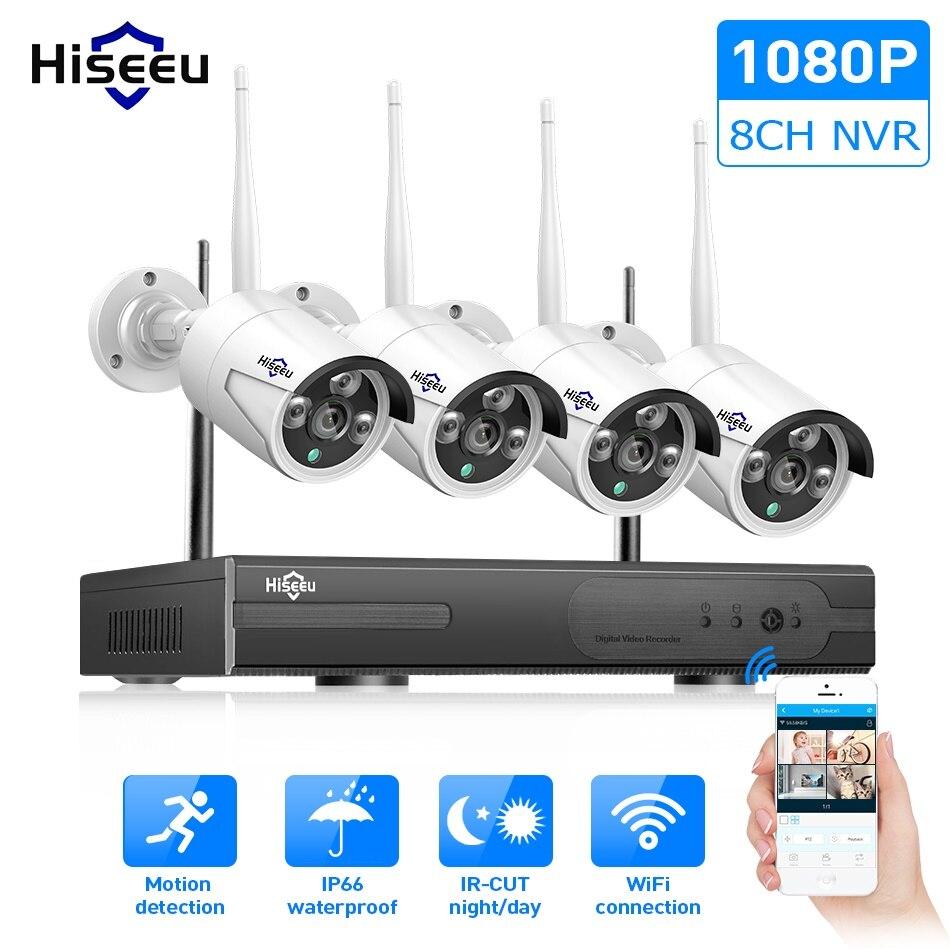 WIFI IP caméra vidéo 1080 P 8CH NVR Sans Fil CCTV Système de Sécurité Kit Infrarouge 4 pièces Cam la Visualisation À Distance par IP pro 1 T hdd