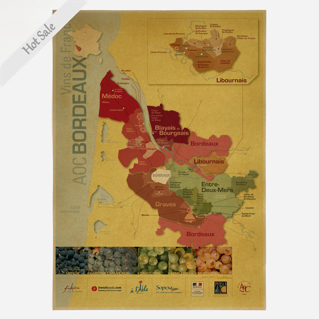 Free Ship FRANCE WINE MAP Vintage Poster Prints Picture Wall Retro ART Sticker Living Room Home
