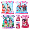 2017 anna elsa dress robe fille enfant dobby moana forro de impresión de la mariposa niños de dibujos animados t-shirt dress elsa traje girl dress