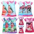 2017 anna elsa dress robe fille enfant dobby moana linning impressão borboleta dos desenhos animados crianças t-shirt dress elsa costume girl dress
