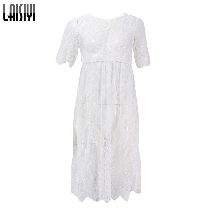 LAISIYI 2019 Summer Short Sleeve Black Lace Dress Women Sexy Strap Sheer O Neck Casual Beach Dresses white Long Vestidos DR2187