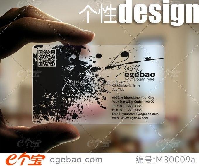 500 Pcs Lote Personnalisee De Cartes Visite Carte Transparent Blanc Encre Impression PVC Une Face N 2216 Dans
