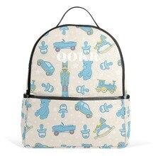 Qokr женские рюкзаки Холст Школьные сумки Модные Зеленые сумки для ноутбука студентов рюкзаки мультфильм автомобили и медведь печати рюкзаки