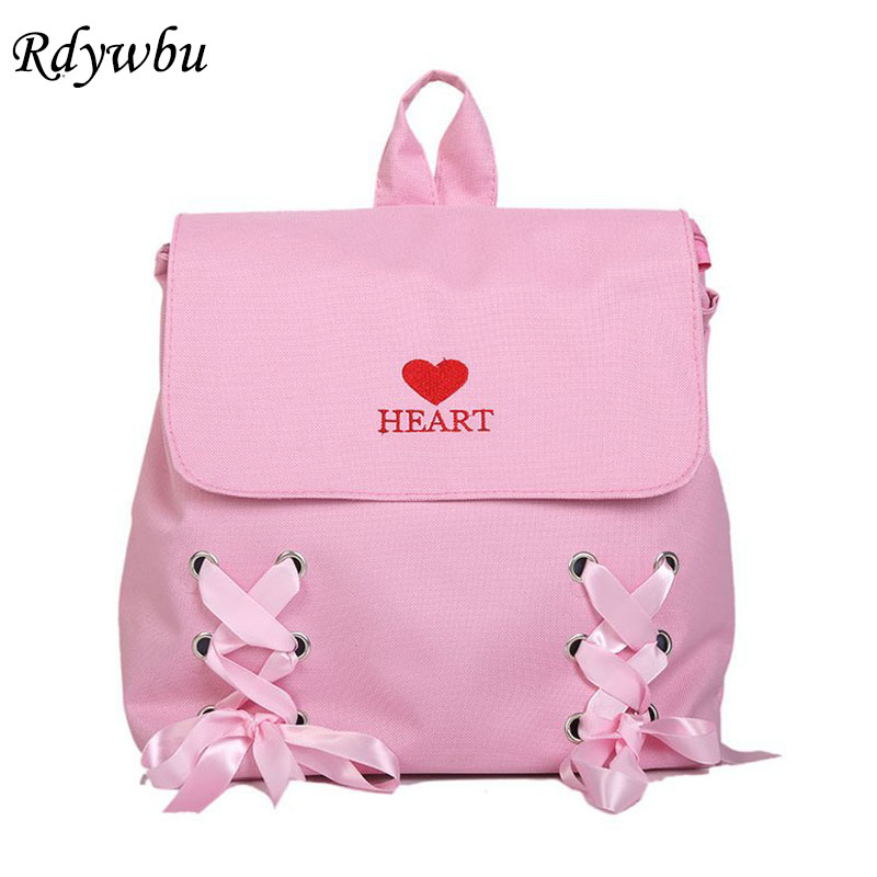 Rdywbu Letters Heart Embroidery Backpack With Bow Girls New Cute Ribbons Canvas School Bag Big Capacity Travel Bag Mochilas B115
