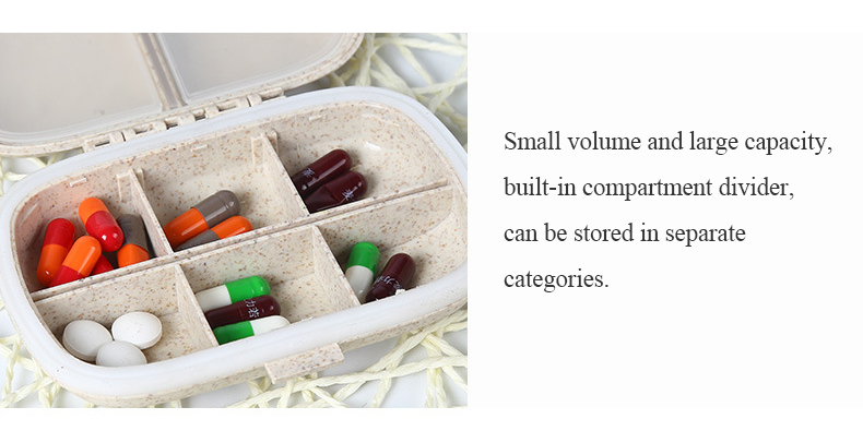 8 grids organizer container for tablets travel pill box with Seal ring Small box for tablets Wheat straw container for medicines