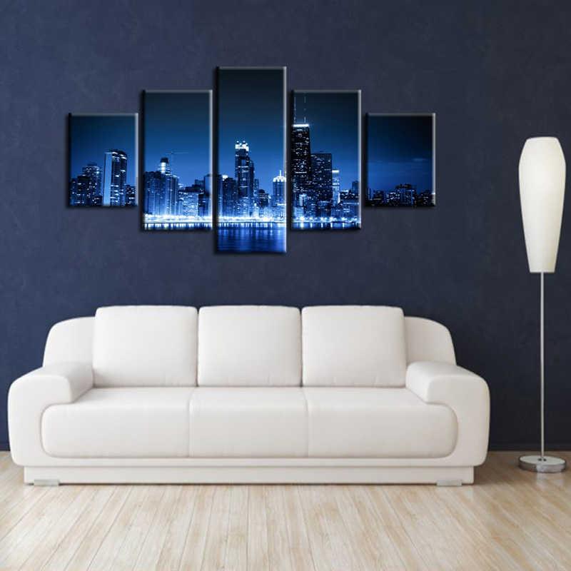 Hurtownie Płótnie Wydruki Krajobraz Miasta 5 Sztuka Modern Style Tanie Zdjęcia Dekoracyjnej Wall Art Oprawione Odbitki Prezent/City-106