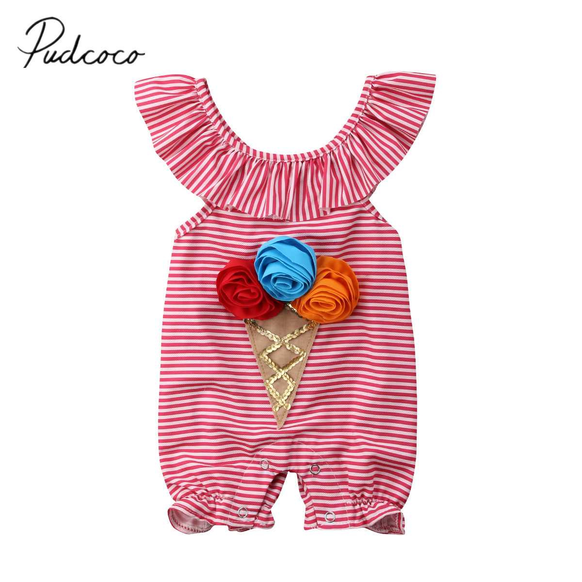 2018 Brand New Newborn Toddler Infant Baby Girl 3D Flower   Romper   Pants Ice Cream Sunsuit Striped Outfit Set Ruffled Clothes 0-4T