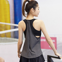 2018 Sleeveless Fitness Vest Breathable Quick Dry Women Patchwork Black And Gray Sporting Shirts Tank Top