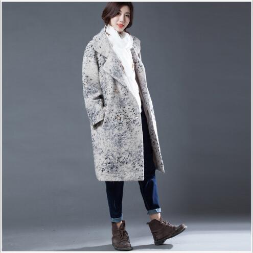 Longue D'hiver En De Nouvelle À Double Veste 2018 Section Femme Grey Casual Outwear Down Cachemire Manteau Turn Boutonnage Femmes Pardessus Laine Col 05PXXq