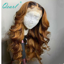 Deep Long middle Parting Lace Front Wig 13x6 Human Hair Blonde Color with Dark Roots Wavy Wigs Preplucked Remy Qearl