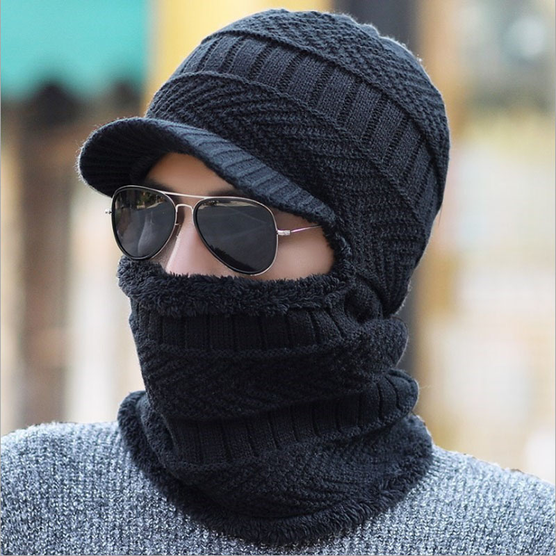 Balaclava Men Scarf Knitted Hat Bonnet Baggy Warm Mask Winter Hats For Men Women Fleece Lined   Skullies     Beanies