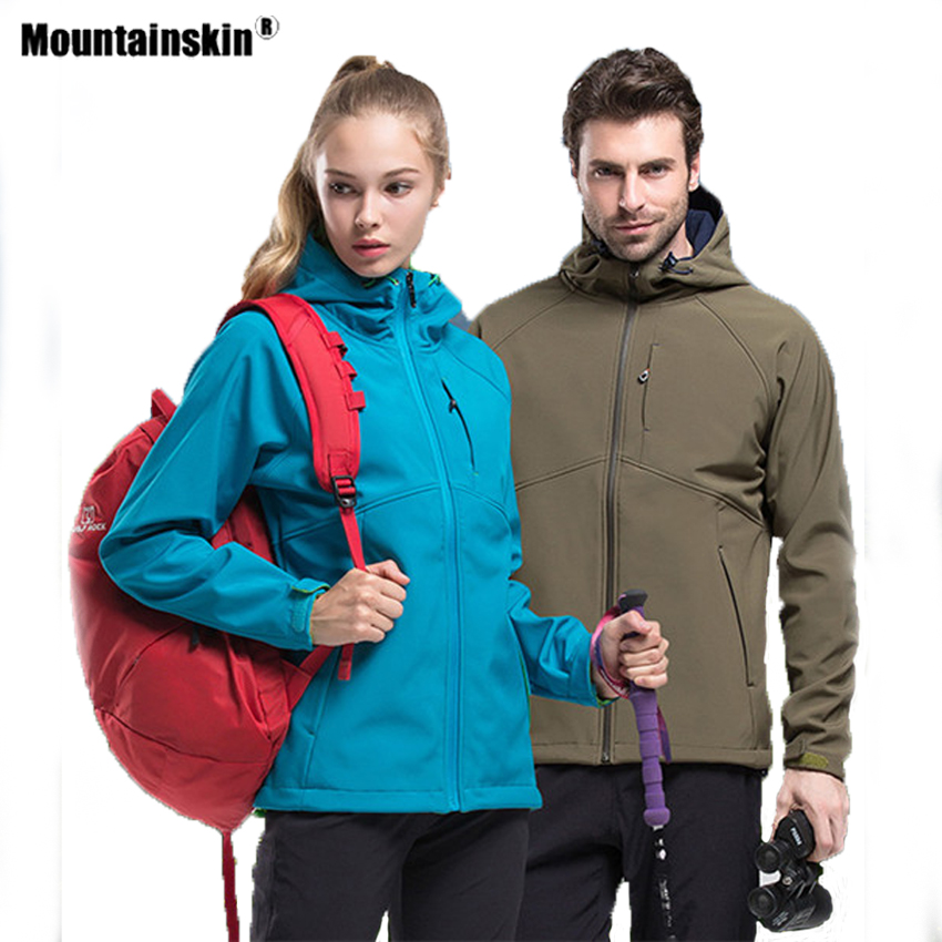 Mountainskin Men Women's Softshell Hiking Jackets Outdoor Sports Fleece Windbreaker Climbing Camping Trekking Hooded Coat VA455|Hiking Jackets| |  - title=