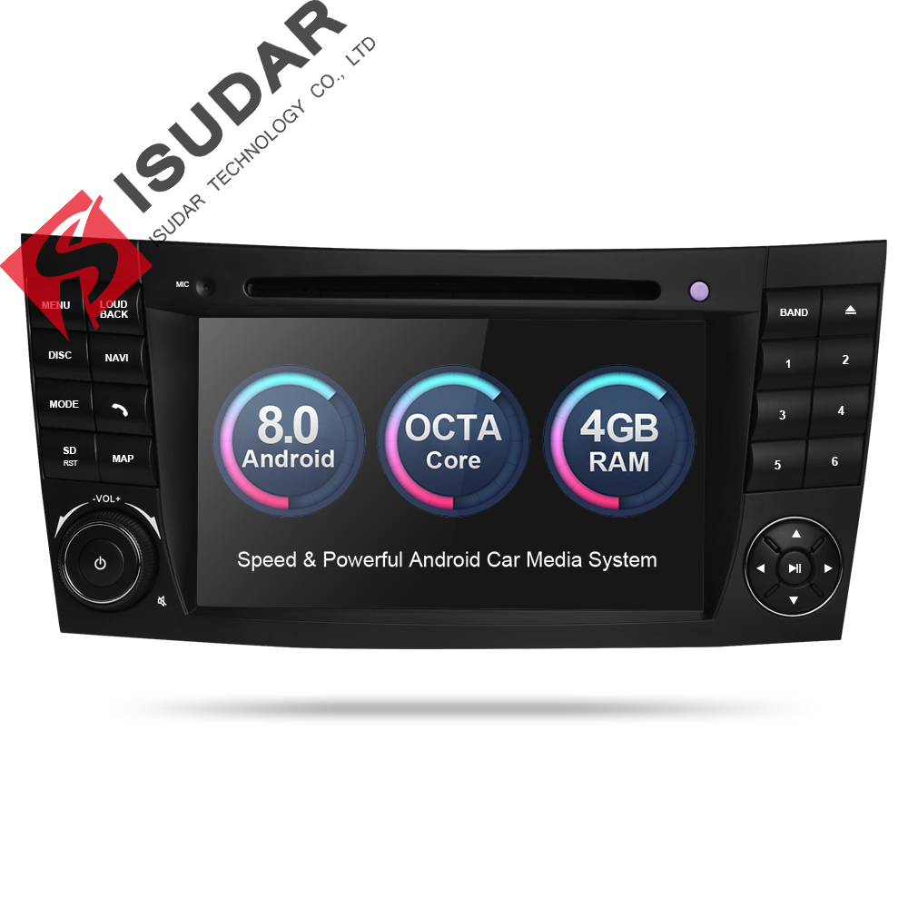 Isudar Car dvd automotivo Player 2 Din Android 8.0 GPS For Mercedes/Benz/E-Class/W211/CL 8 Cores 4GB RAM Wifi Radio am fm seicane android 8 0 8inch 2 din gps car radio for 2000 2011 mercedes slk class r171 slk200 slk280 slk300 slk350 slk55