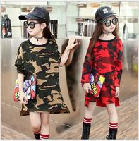 Camouflage Autumn Girls Clothes Long Sleeve Dress Girl Cotton Loose Dress For Beach Birthday Party New