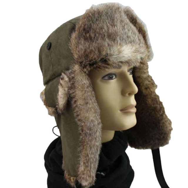 3457b8043cc 2017 Winter Unisex Men Women Warm Trapper Aviator Trooper Earflap Warm  Russian Ski Hat Bomber Hats