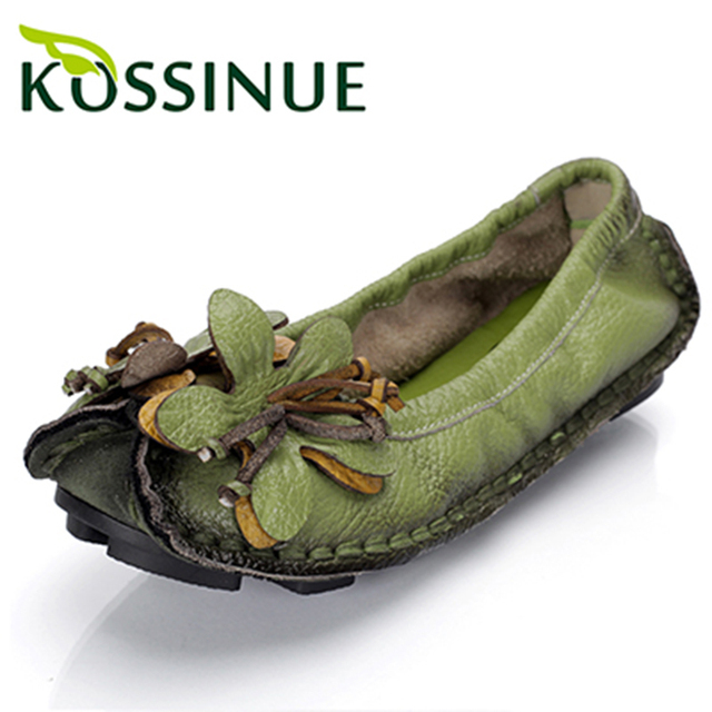2016 New spring women flats genuine leather shoes women casual loafers flower flat heel shoes soft outsole handmade flats women