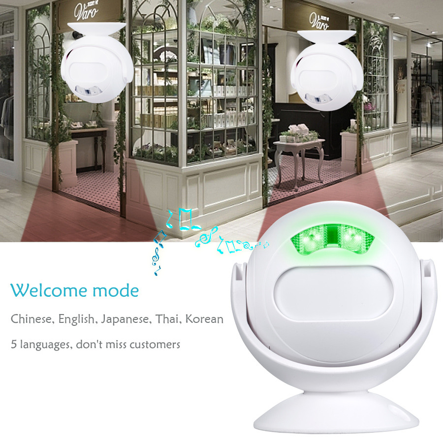 SMATRUL Wireless Doorbell Welcome IR Infrared motion sensor Alarm Cute mini home shop Door Bell Chime night light Deaf 2.1