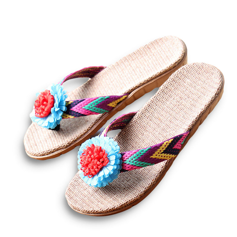 New Summer Women Linen Slippers Flower Ribbon Sandals Flat EVA Non-Slip Linen Slides Home Flip Flop Health Straw Lady Beach Shoe coolsa women s summer flat non slip linen slippers indoor breathable flip flops women s brand stripe flax slippers women slides