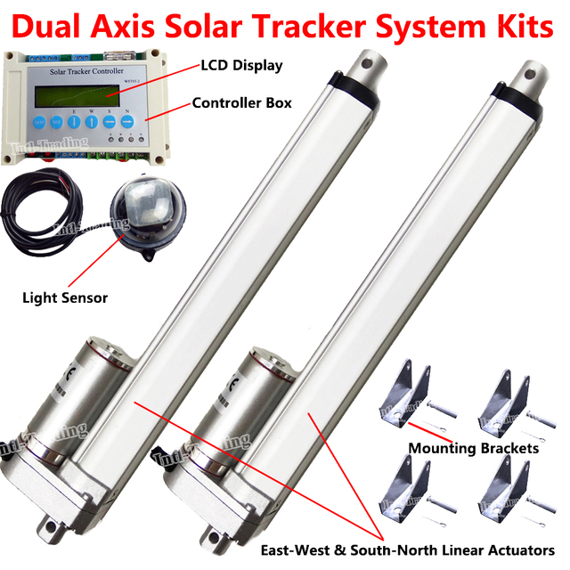 """2*10"""" DC12V Motor Linear Actuator Controller Brackets Set LCD Dual Axis Solar Tracker Sun Tracking System Outdoor Power Home Car"""