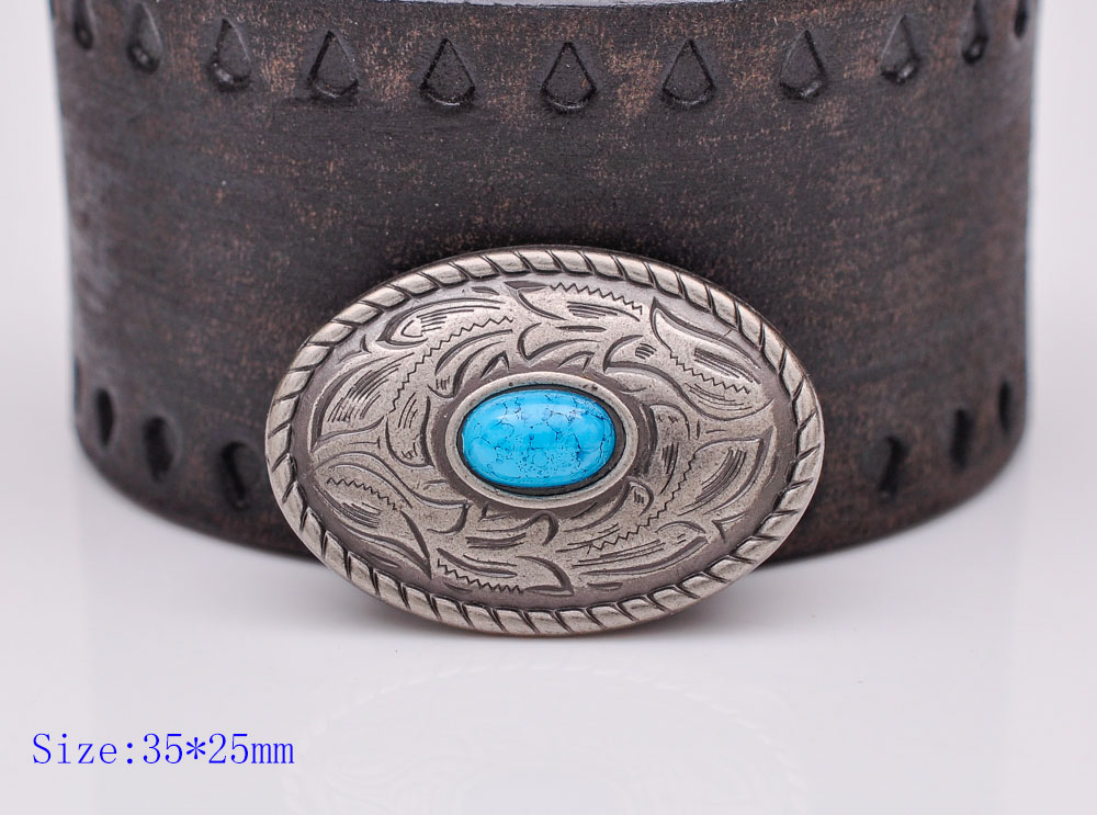 10pcs 35X25mm Vintage Silver Western Turquoise Oval Parade Leather Conchos For Leathercraft Wallet Chain Belt Wallet Decoration