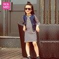 Chica de moda causal de vestir para niños ropa de otoño chaleco de jeans con rayas de manga larga vestido 2 unids ropa gota del vestido gratis